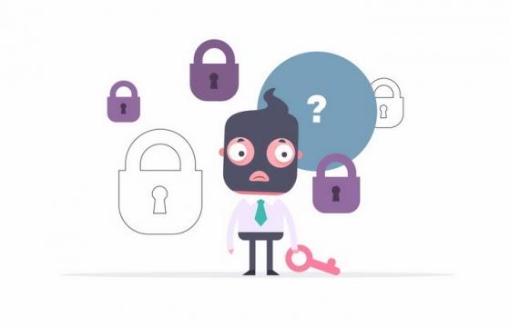 卡通男人拿着钥匙不知道开哪个锁象征了黑客破解不了密码png图片免抠矢量素材