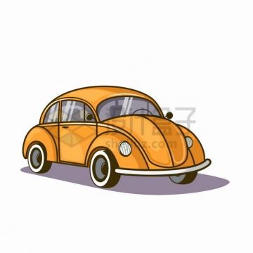 卡通黄色复古甲壳虫汽车png图片素材