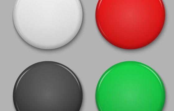 高光立体风格四种颜色的圆形按钮免抠矢量图片素材