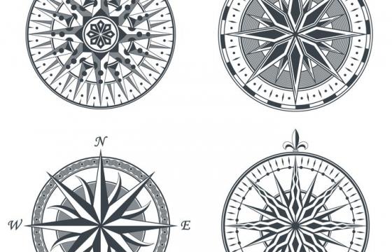 4款复古风格的指南针指北针罗盘占卜指针图片免抠矢量素材