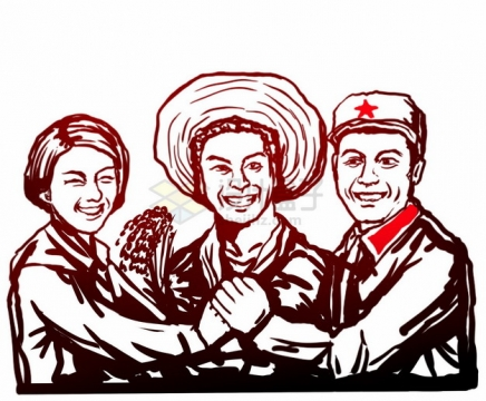 一起握手的农民工人五一劳动节劳动人民刻板画插画png图片素材