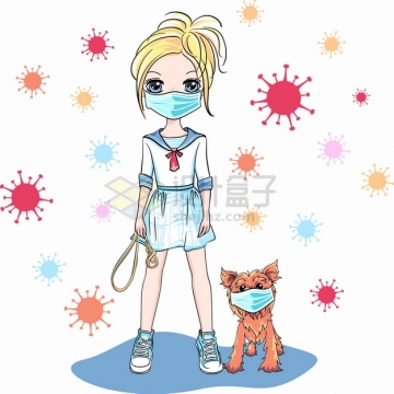 卡通二次元美少女戴口罩遛狗预防新型冠状病毒png图片素材