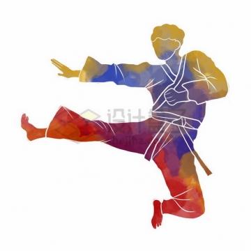 练武术跆拳道彩色涂鸦317649png免抠图片素材