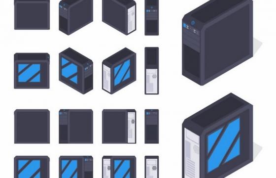 4种不同的电脑主机机箱样式png图片免抠矢量素材