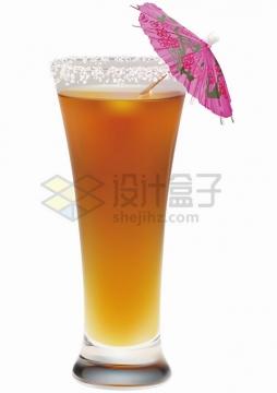 一杯美味的鸡尾酒插着一个小伞png图片免抠矢量素材