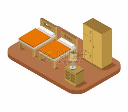 2.5D风格两张床和床头柜衣柜等卧室装修349308png图片矢量图素材