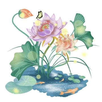 手绘唯美风格盛开的荷花荷叶蝴蝶图片免抠素材