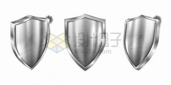 银色金属拉丝效果的不锈钢防护盾牌png图片免抠矢量素材