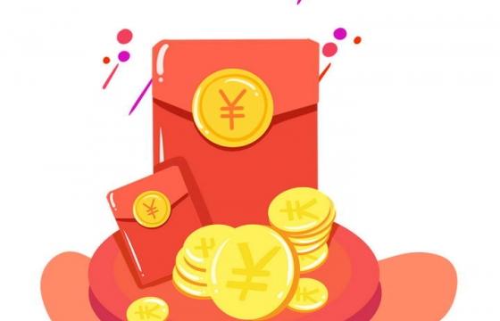 手绘风格放在圆形展台上的金币和红包图片免抠素材