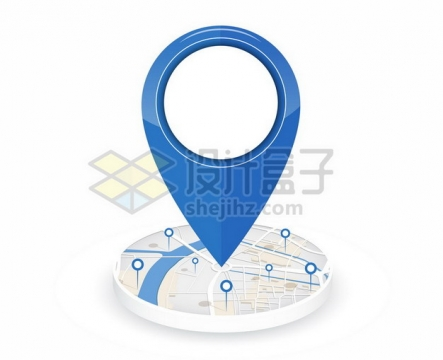 圆形地图上的蓝色定位图标692373png图片素材