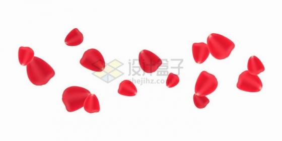 飘落的红色玫瑰花花瓣png图片免抠矢量素材