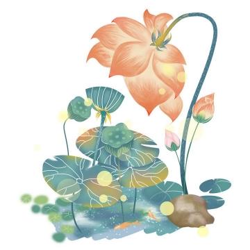 手绘风格黄色光斑效果盛开的荷花荷叶莲蓬蝴蝶图片免抠素材