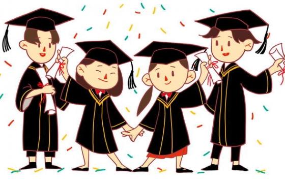 卡通可爱风格四个头戴学士帽的大学毕业生毕业季学生图片免抠素材
