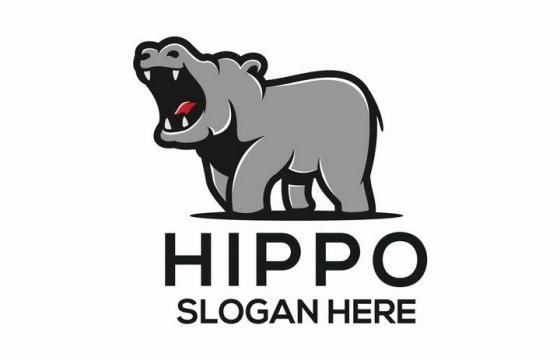卡通河马动物logo设计方案png图片免抠矢量素材
