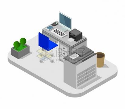 2.5D风格办公桌打印机等办公室装修616689png图片矢量图素材