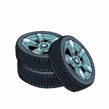 漫画风格堆放在一起的汽车轮胎png图片免抠矢量素材