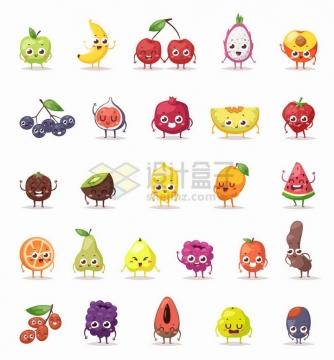 卡通苹果香蕉樱桃火龙果石榴哈密瓜草莓芒果西瓜等带表情水果png图片免抠矢量素材