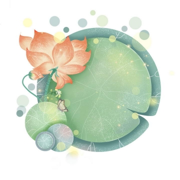 创意俯视视角手绘风格盛开的荷花浮萍圆形荷叶图片免抠素材