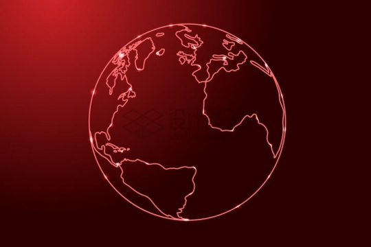 发光红色线条勾勒的地球大西洋png图片免抠矢量素材