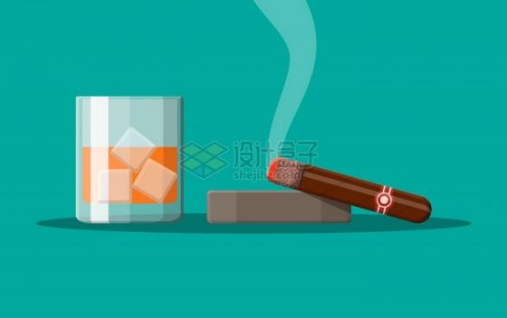 放在烟灰缸上冒烟的雪茄烟和加冰的红酒png图片素材