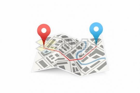 地图上的红色蓝色定位标志869077png图片素材