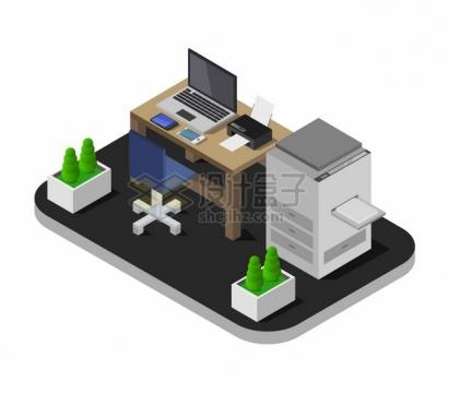 2.5D风格电脑桌打印机等办公室装修492385png图片矢量图素材