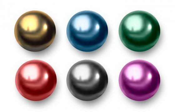 六种颜色的金属光泽小球圆球免抠png图片矢量图素材