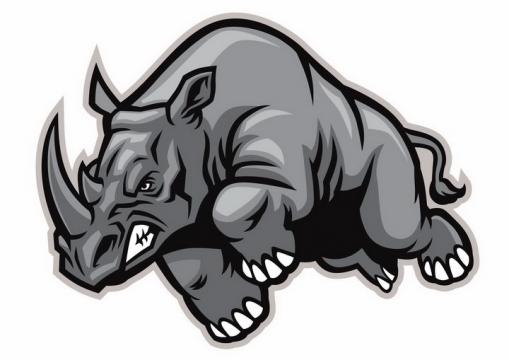卡通黑色灰色愤怒的犀牛野生动物png图片免抠矢量素材