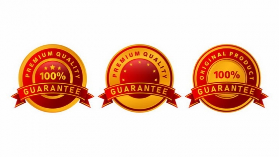 3款红色黄色质量保证徽章png图片免抠矢量素材
