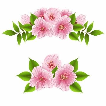2款带有绿叶的粉色桃花鲜花装饰png图片免抠eps矢量素材