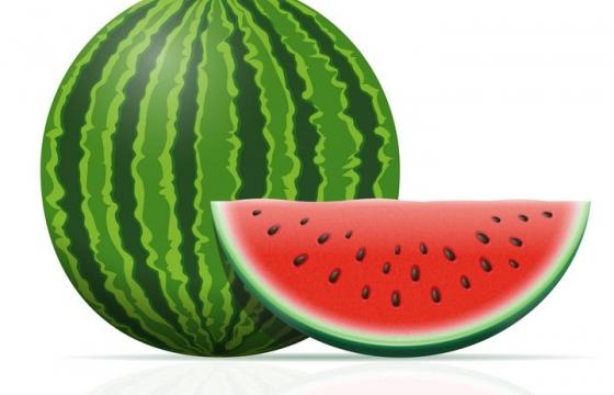 大西瓜和切开的西瓜美味水果免抠矢量图片素材