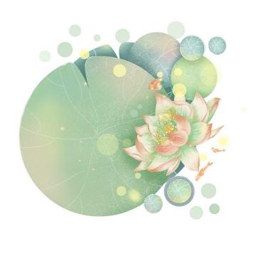 创意俯视视角手绘风格盛开的荷花浮萍圆形荷叶金鱼锦鲤图片免抠素材