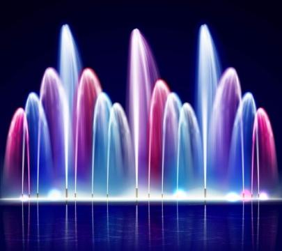 彩色的喷泉音乐喷泉图片免抠素材