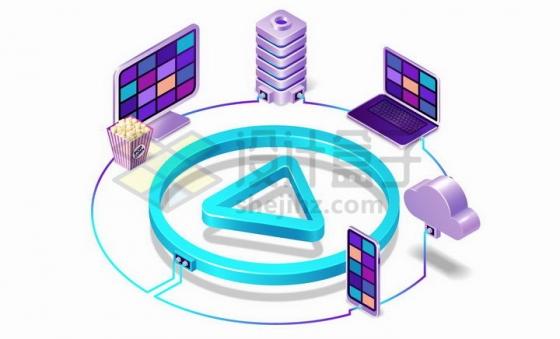 3D风格网络视频在电脑端服务器端手机端云端运行png图片免抠矢量素材