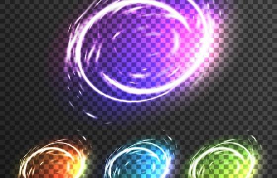 四款彩色炫光光晕效果图片免抠素材