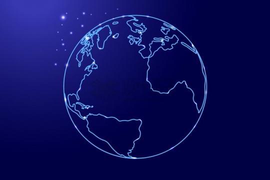 发光蓝色线条勾勒的地球大西洋png图片免抠矢量素材