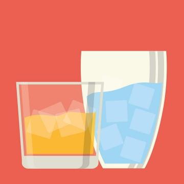 简约扁平化风格放有冰块的饮料玻璃杯图片免抠素材