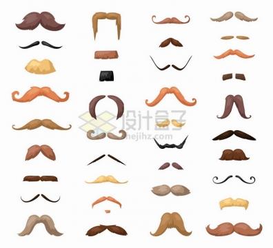 各种彩色的卡通胡子胡须山羊胡装饰png图片免抠矢量素材