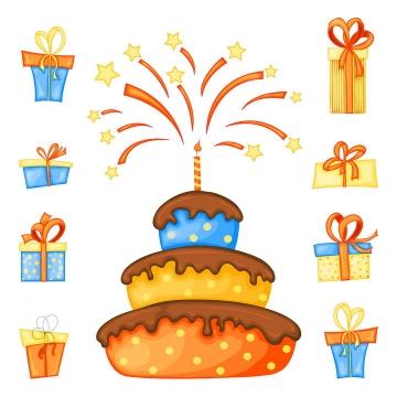 卡通风格生日蛋糕和生日礼物图片免抠矢量图素材