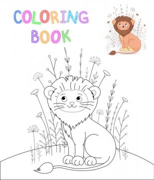 简约线条可爱的狮子动物简笔画免抠矢量图片素材