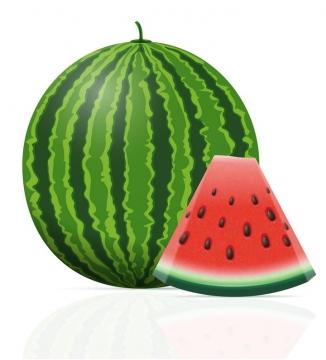 大西瓜和切开一小片的西瓜水果免抠矢量图片素材