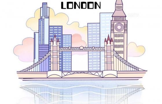 简约手绘风格英国伦敦城市地标建筑旅游图片免抠素材