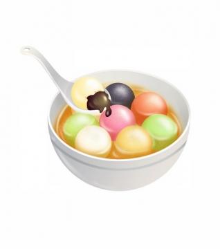 一碗元宵节彩色芝麻糖汤圆png图片免抠素材