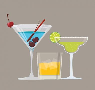 简约扁平化风格加冰的饮料玻璃杯图片免抠素材