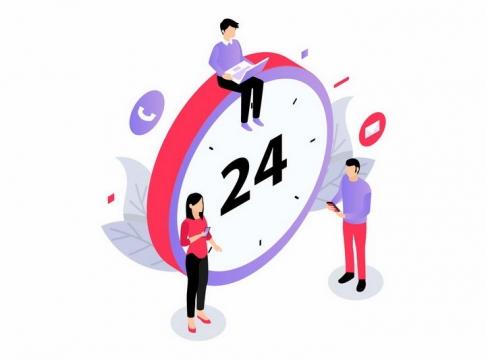 2.5D风格坐在时钟上的年轻人24小时人工服务png图片免抠矢量素材
