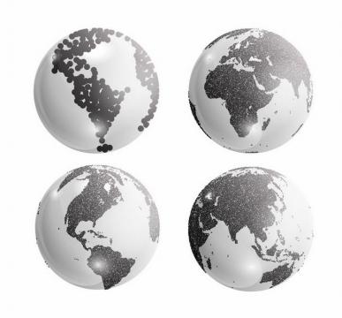 4个不同角度的黑色陆地的地球模型png图片免抠矢量素材