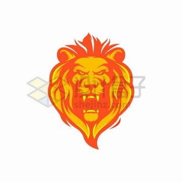 红色和黄色狮子头标志logo设计方案png图片免抠矢量素材