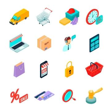 2.5D等距风格网上购物图标图片免抠素材