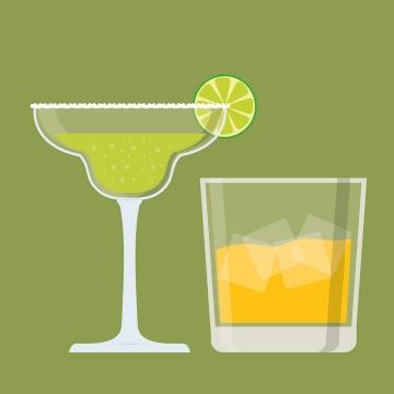 两个不同风格的扁平化饮料酒杯玻璃杯图片免抠素材
