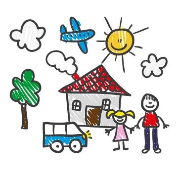 彩色手绘涂鸦一家人房子等儿童画简笔画图片免抠矢量素材